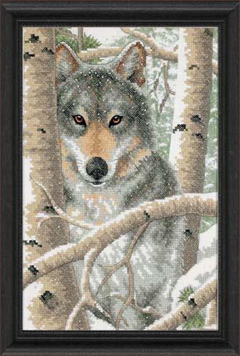 Зимние волки вышивки