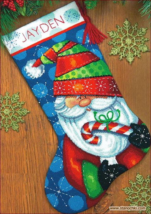 Вышивка рождественского носка