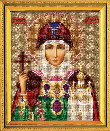 Святая Ольга (В-341 Кроше) Икона Кроше (Вышивка бисером) (фото)
